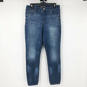 Express Size 8 Distressed High Rise Legging Jeans